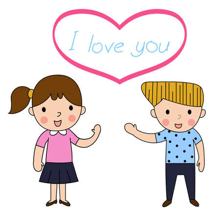 boyfriend: cartoon woman and man inlove lovely greeting on White background ,decorated couple wedding lovely vector illustration Illustration