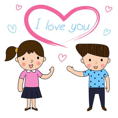 lovely couple: cartoon woman and man inlove lovely greeting on White background ,,decorated couple wedding lovely vector illustration Illustration