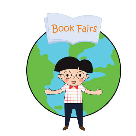 fairs: man wear glasses Embraces welcome to world book fairs , vector illustration on white background Illustration
