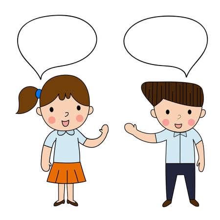 dialogo: Historieta de la mujer y el hombre hablando saludo en el fondo blanco, la comunicación estudiante ilustración vectorial