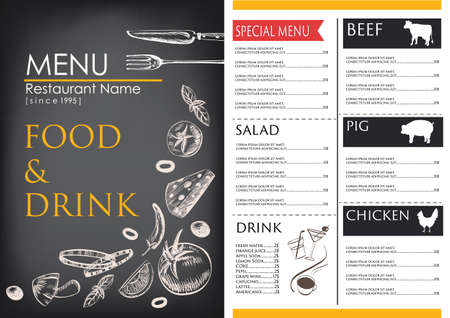 food and drink menu restaurant cafe  brochure. drawing retro design template. ,vegetable vector illustration