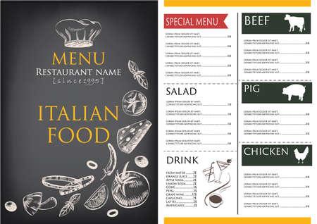 食べ物や飲み物のメニュー レストラン カフェのパンフレット。レトロなデザインのテンプレートを描画します。、野菜のベクトル図