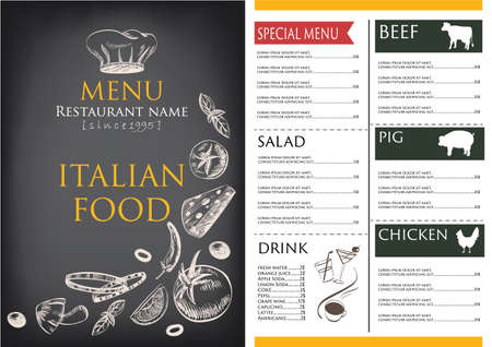 vintage cafe: food and drink menu restaurant cafe  brochure. drawing retro design template. ,vegetable vector illustration