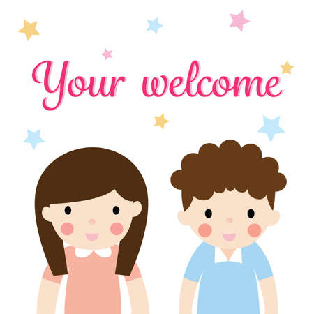 boy and girl cartoon cute standing welcome on white background with colorful star