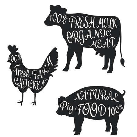 セット詳細肉ブラシ フォント ベクトル図と部品名肉落書きとファーム動物牛豚鶏のシルエット