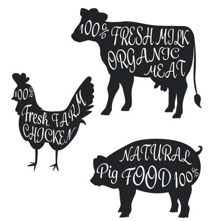 animal parts: silhouette set farm animal cow pig chicken with parts name meat doodle with detail meat brush font vector illustration