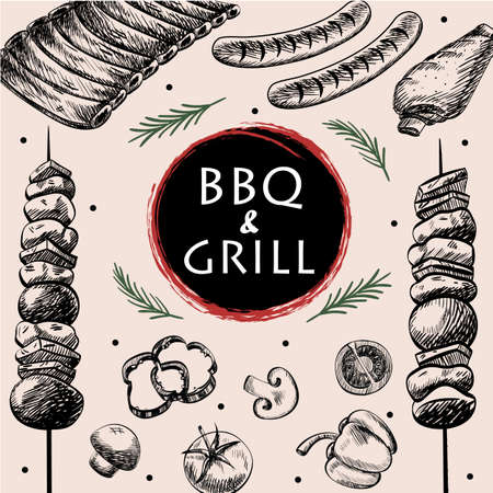 frankfurter: BBQ barbecue grill meat food  menu restaurant  have  barbecue sausage rib grilled and vegetable drawing design ,vector illustration