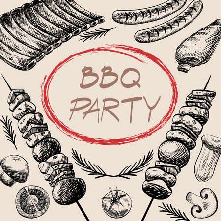 バーベキュー バーベキュー グリル肉料理メニュー レストランがあるバーベキュー ソーセージのリブのグリル、野菜の図面デザイン、ベクトル イラ