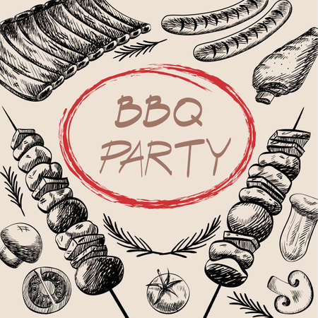 Barbecue barbecue menù griglia ristorante hanno barbecue salsiccia costola alla griglia e verdure progettazione disegno, illustrazione vettoriale