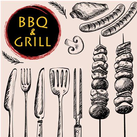 バーベキュー バーベキュー グリル肉料理メニュー レストランがあるバーベキュー ソーセージ リブ焼きと野菜とキッチン用品図面デザイン、ベクト