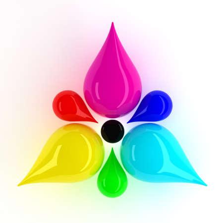 imprenta: CMYK y RGB Flor con gotas.