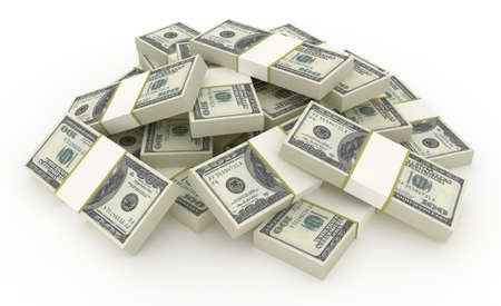 apilar: Pila de billetes de dólar. HQ 3D Render.