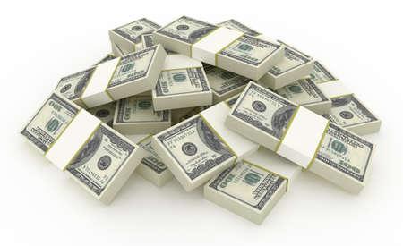 gotówka: Stos banknotów dolarowych. HQ 3d render. Zdjęcie Seryjne