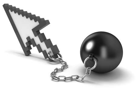 shackle: Mouse cursor with shackles. High quality 3d render.   Stock Photo