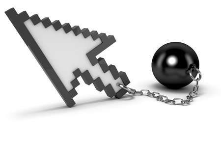 restricted: Mouse cursor with shackles. High quality 3d render.   Stock Photo