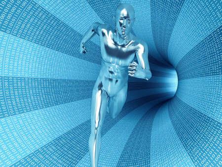 Bionic man running in the binary data tunnel. photo