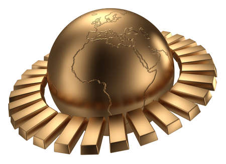 Golden earth with gold bars.  photo