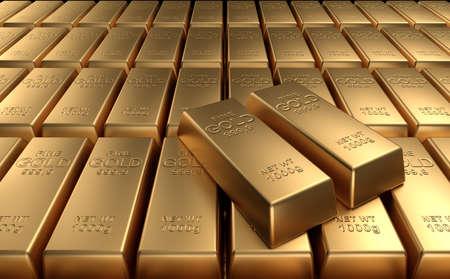 lingote de oro: Lingotes de oro apilados. Render 3d de alta calidad.
