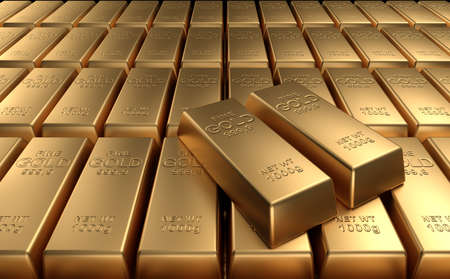 Stacked gold bars. High quality 3d render. Stock Photo - 10433019