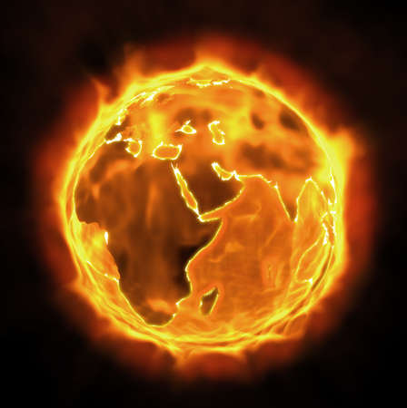 global warming: Burning Earth Stock Photo