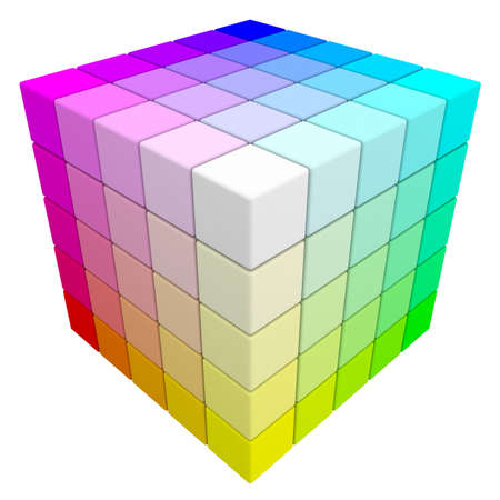 cube box: RGB   CMYK color cube  Stock Photo