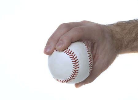 Illustrates how to hold a baseball to throw a 4-seam fastball. Stock Photo - 5677499