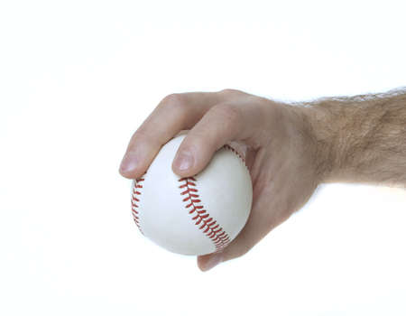 Illustrates how to hold a baseball to throw a 4-seam fastball. Stock Photo - 5677503