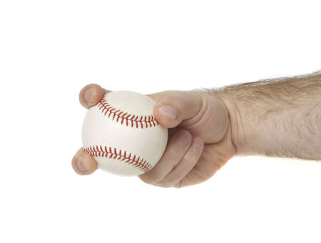 outfield: Illustrates how to hold a baseball to throw a split finger.