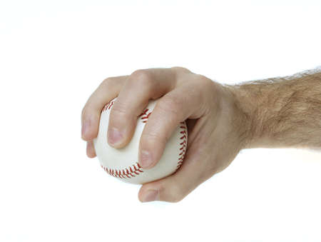 Illustrates how to hold a baseball to throw a palmball. Stock Photo - 5677515
