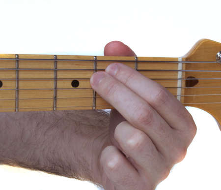 fingering: Closeup of an E Minor Guitar Chord Fingering