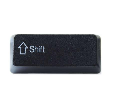 black key: The Shift key from a black computer keyboard