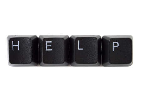 function key: The word help spelled out with black keyboard keys