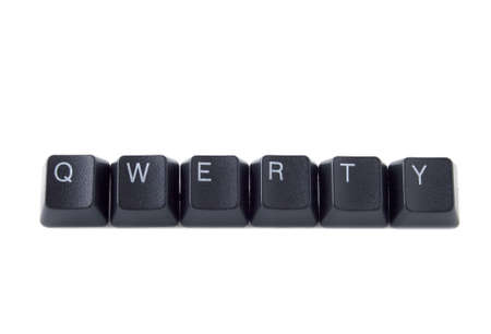 qwerty: QWERTY help spelled out with black keyboard keys Stock Photo