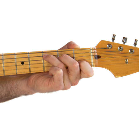 Demonstration Of How To Play A C Chord On The Guitar Stock Photo ...