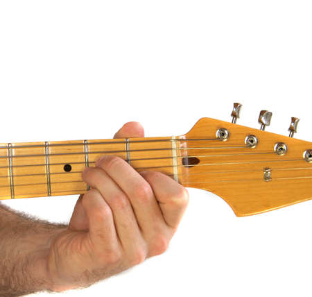 Demonstration Of How To Play Am Chord On The Guitar Stock Photo ...