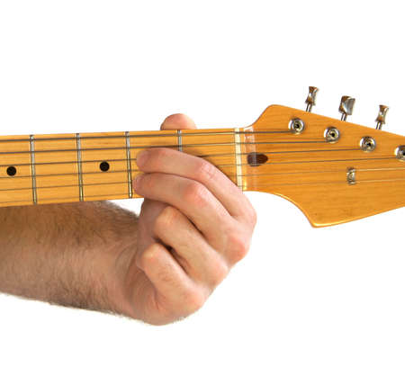 chord: Demonstration of how to play A7 chord on the guitar