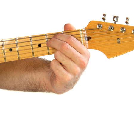 e guitar: Demonstration of how to play the E Minor (Em) chord on a guitar. Stock Photo