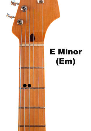 em: Diagram of how to finger an E Minor (Em) Guitar Chord. Stock Photo