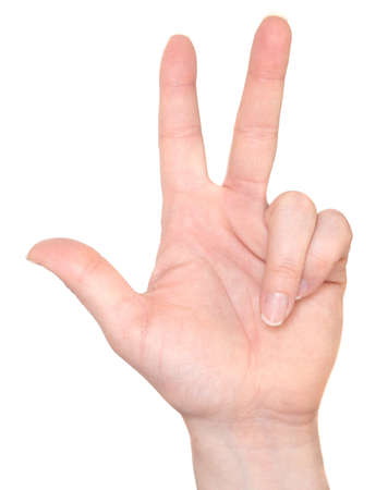 Example of how to sign the number 3 in American Sign Language photo