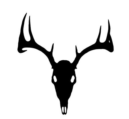 whitetail buck: A European Deer Silhouette Black on White