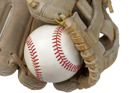 Great image of a hardball in a baseball glove. photo