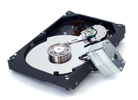 A strong lock through a harddrive. Stock Photo - 9277094