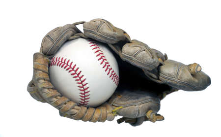 hardball: View of a hardball in the end of a baseball mitt Stock Photo