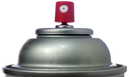 propellant: Closeup of the top of an Aerosol Spray Can Stock Photo