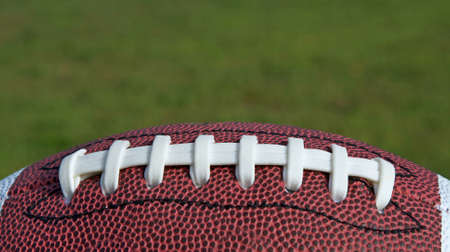 nfl: Football sitting on a grass background Stock Photo