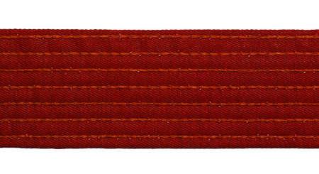 bushido: Karate red belt closeup isolated on white background Stock Photo