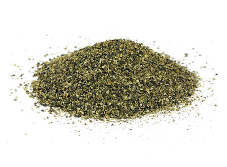 alga marina: Una pila de harina de kelp, un abono orgánico ideal y proveedor de nutrientes traza