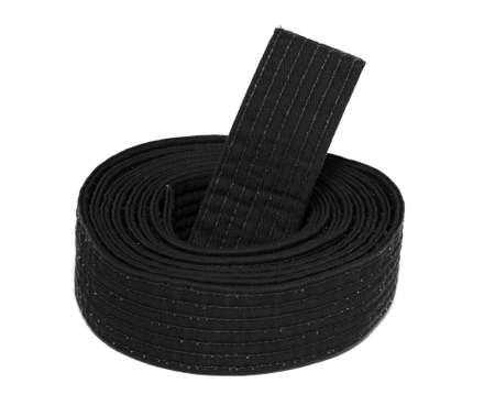 coiled: Coiled karate black belt isolated on white  Stock Photo