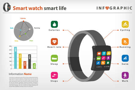 watch: smart watch infographic with activity icon in vector style