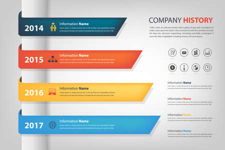Company history  performance in time line year horizontal graph bar Vector